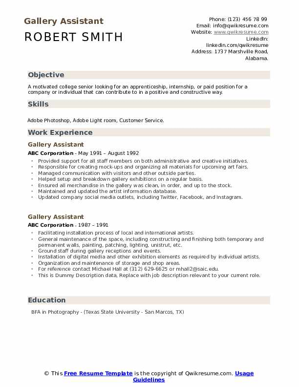 Gallery Assistant Resume example