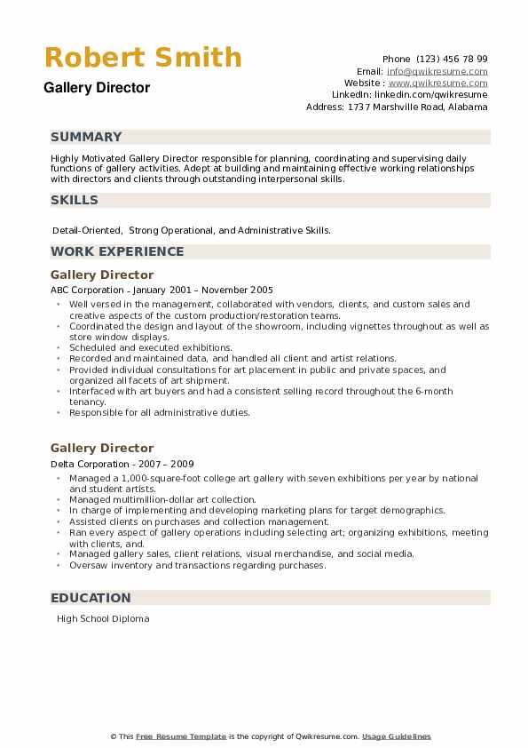 Gallery Director Resume example