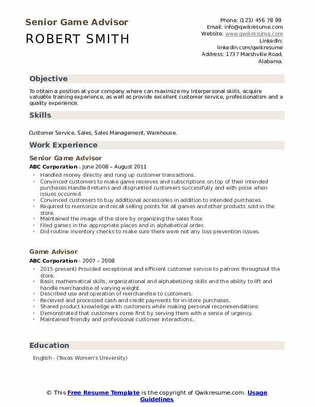 Game Advisor Resume Samples | QwikResume
