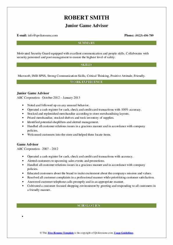 Junior Game Advisor Resume Sample