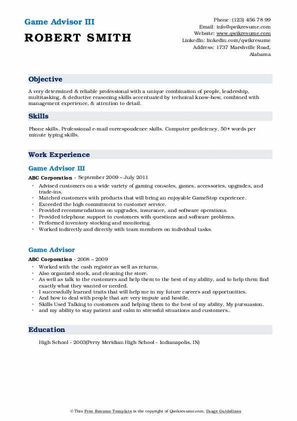 Game Advisor Resume Samples Qwikresume