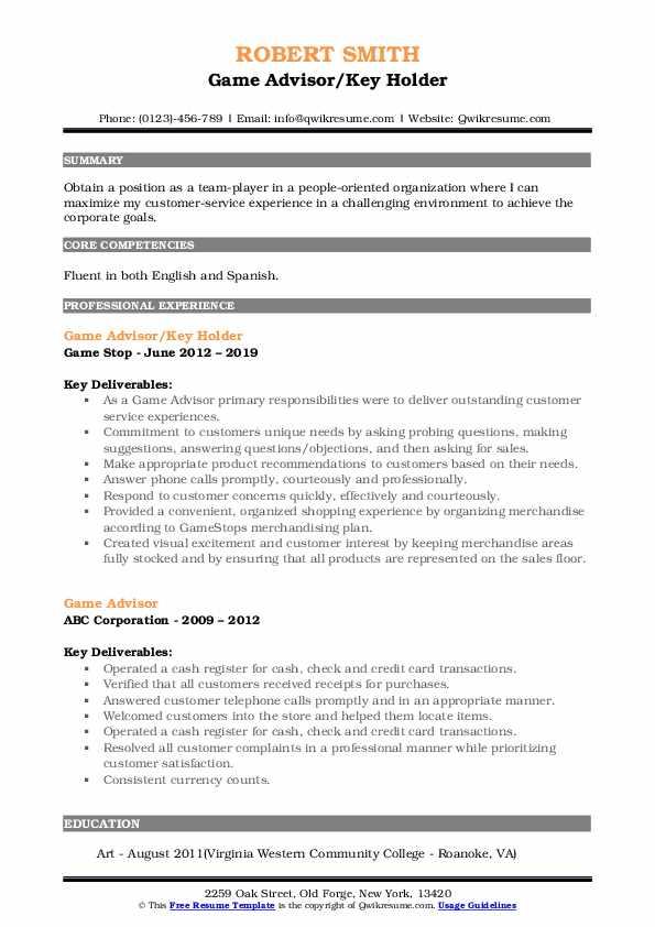 Game Advisor/Key Holder Resume Model