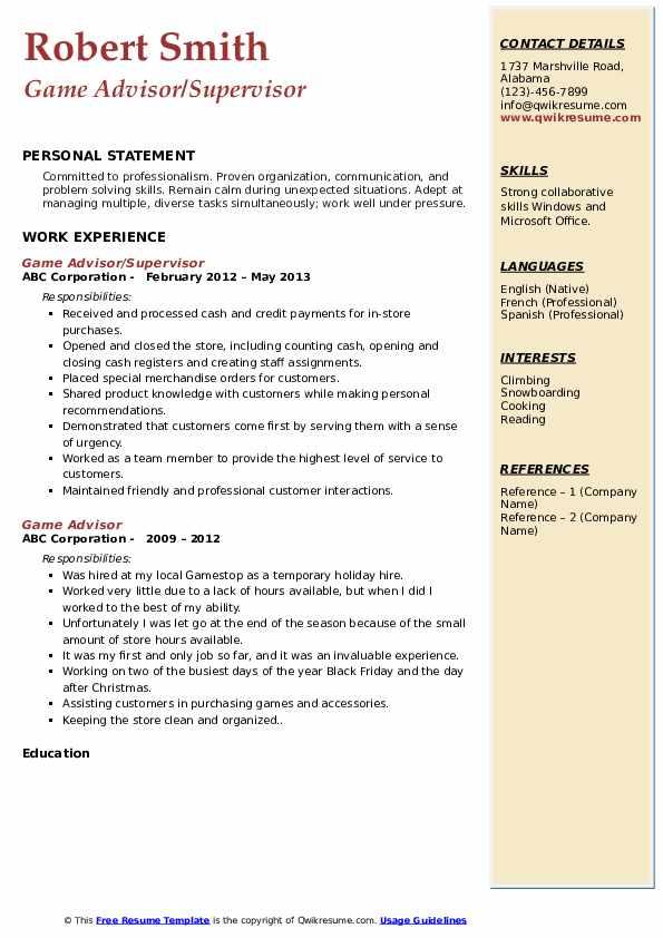 Game Advisor/Supervisor Resume Format