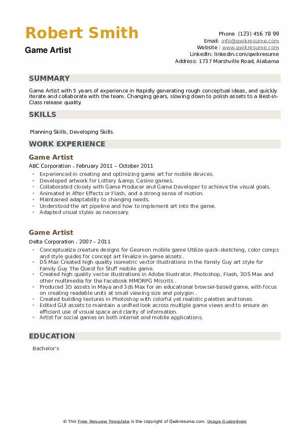 Game Artist Resume example