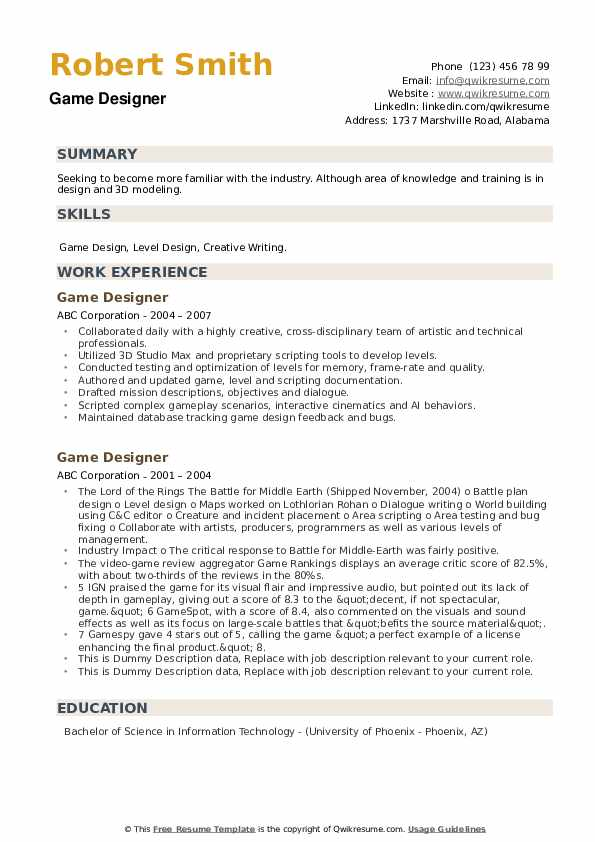 Game Designer Resume example