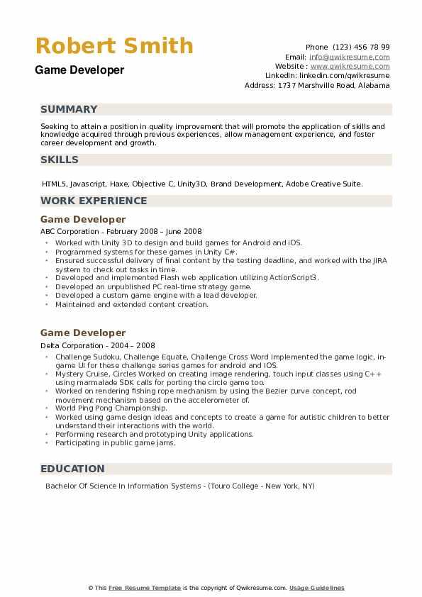 Game Developer Resume example