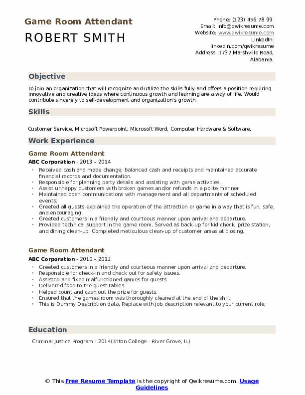 Game Room Attendant Resume example