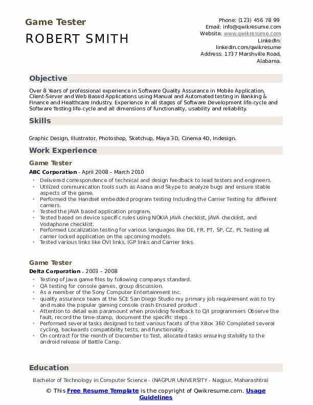Video game tester resume sample thesis on writing skills