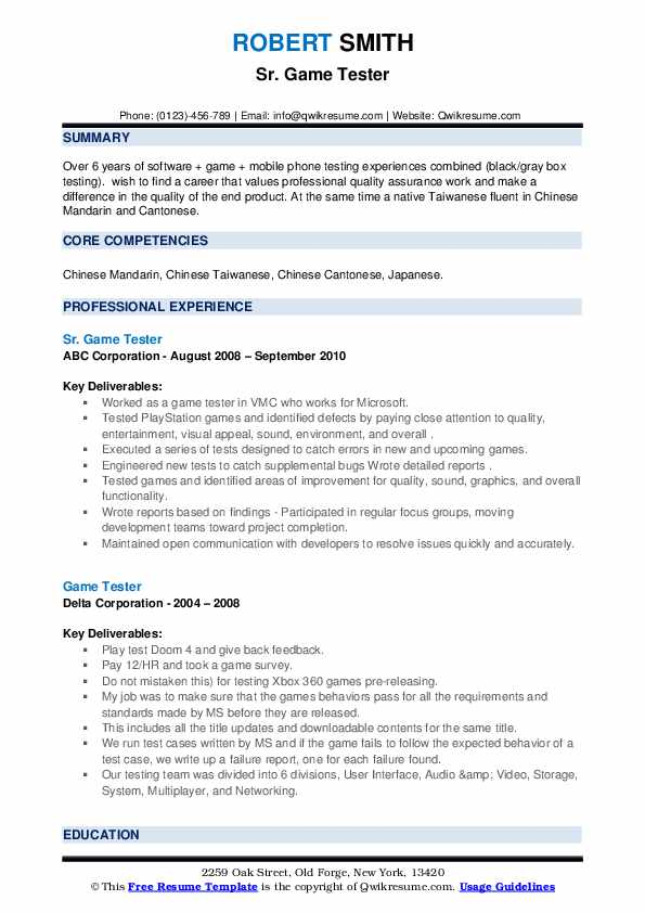 Video game tester resume sample essay tourism industry