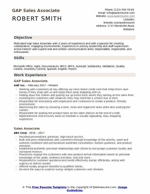 GAP Sales Associate Resume Format