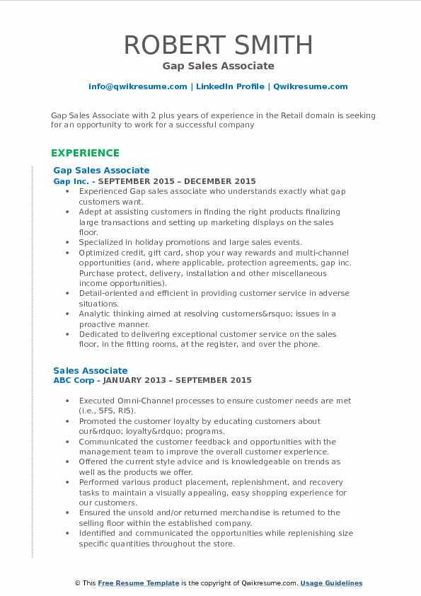 Gap Sales Associate Resume Example