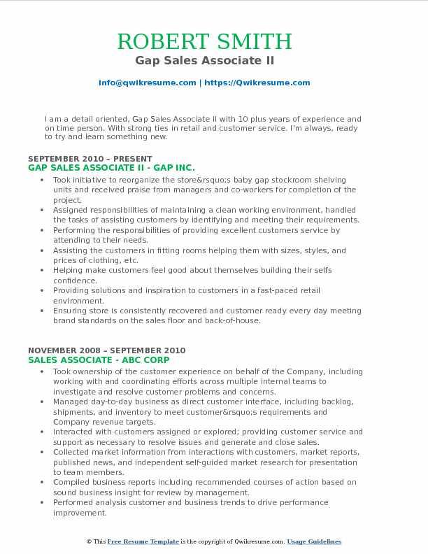 Gap Sales Associate II Resume Format