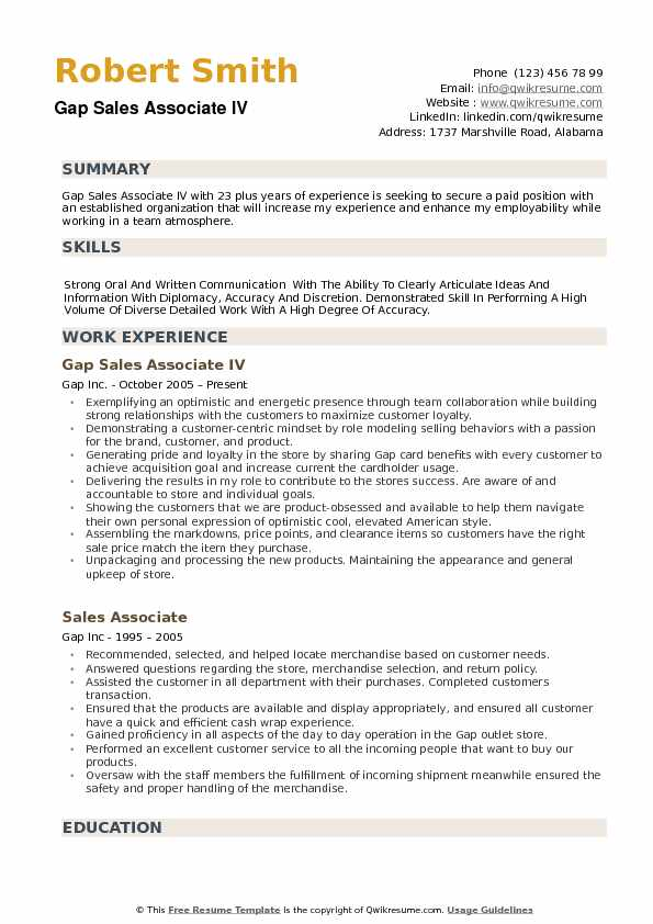 gap sales associate resume samples