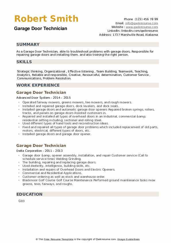 Garage Door Technician Resume example