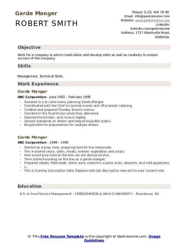 Garde Manger Resume example