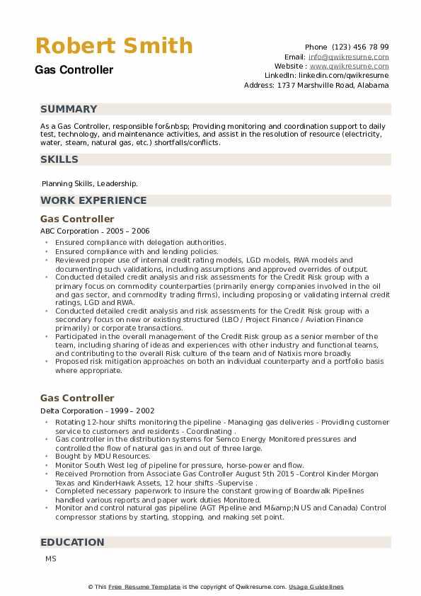 Gas Controller Resume example