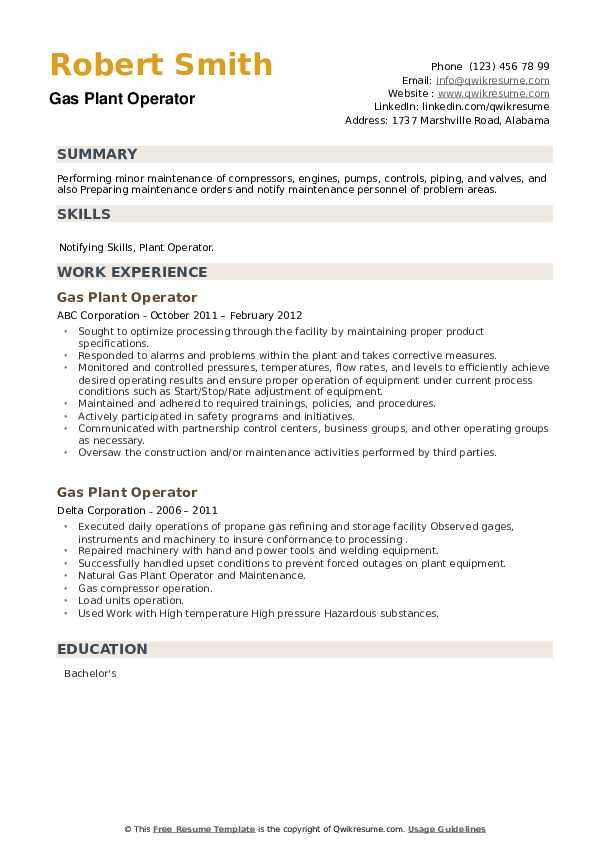Gas Plant Operator Resume example