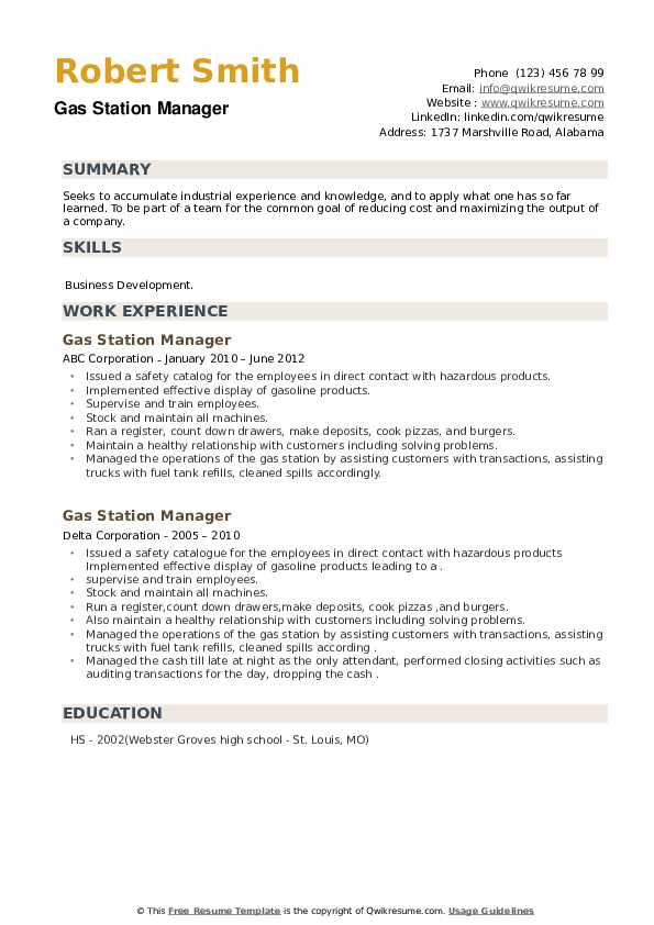 Gas Station Manager Resume example