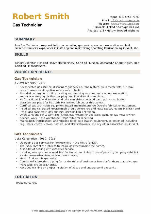 Gas Technician Resume example