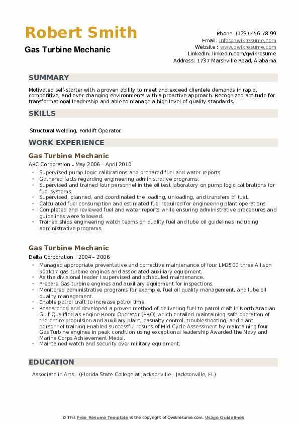 Gas Turbine Mechanic Resume example