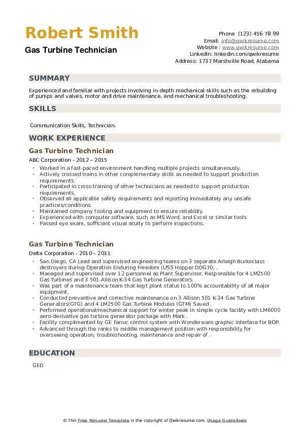 Gas Turbine Technician Resume example