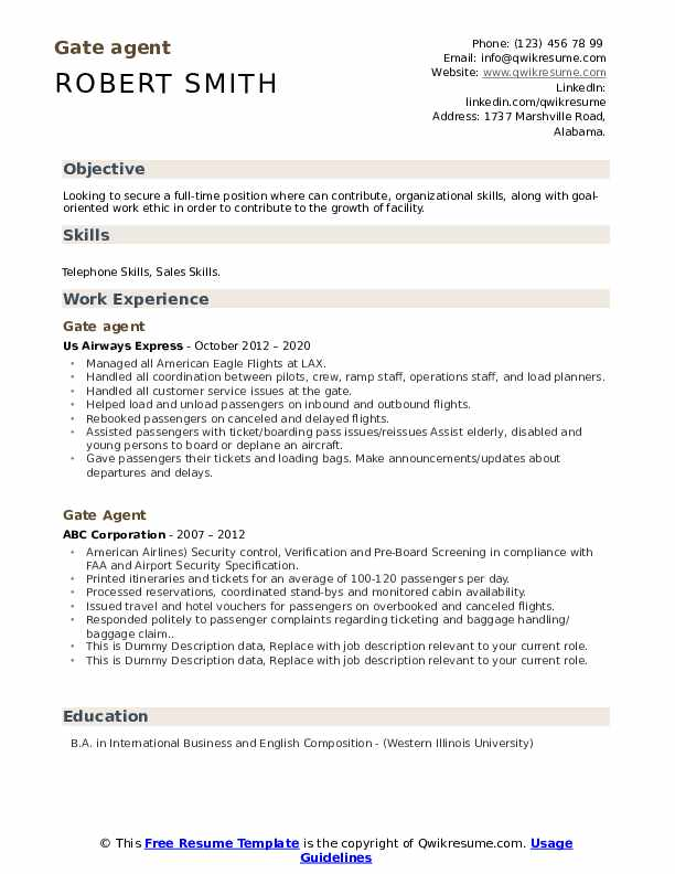 Gate Agent Resume example