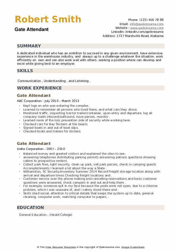 Gate Attendant Resume example