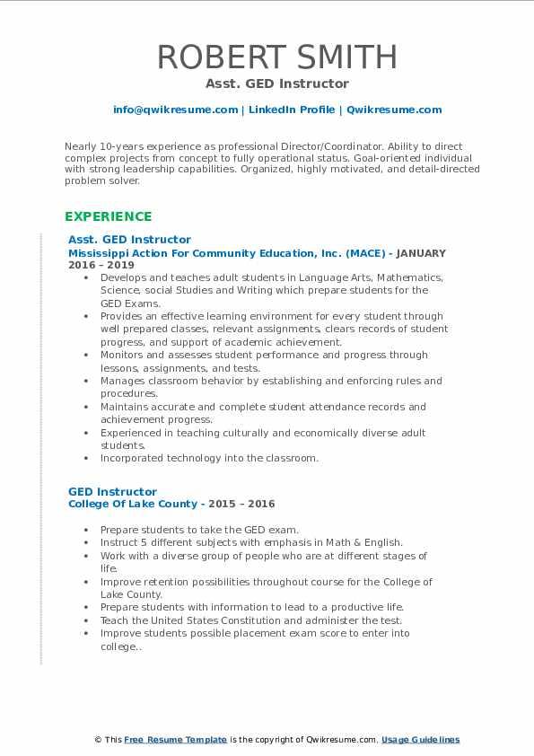 ged instructor resume samples