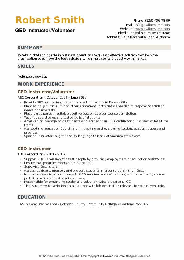 GED Instructor Resume example