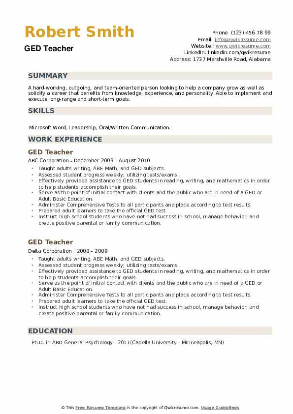 GED Teacher Resume example
