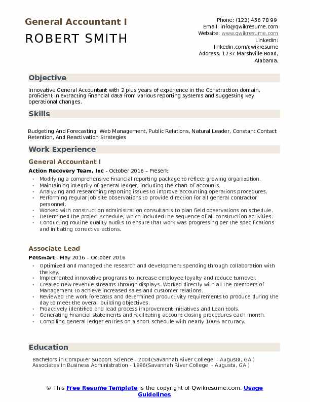 General Accountant Resume Samples | QwikResume