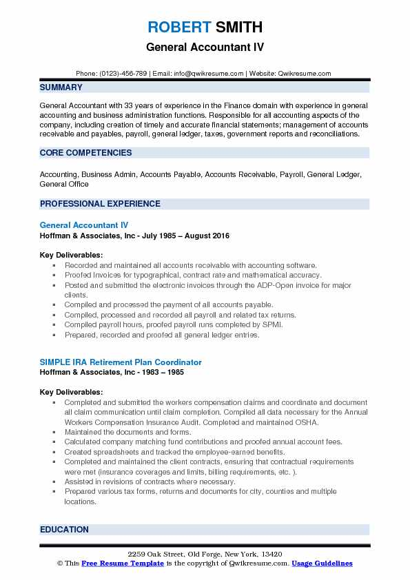 General Accountant Resume Samples Qwikresume