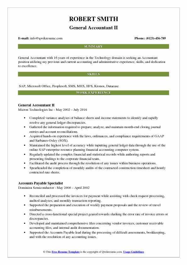 General Accountant II Resume Sample