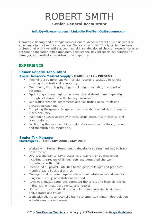 Senior General Accountant Resume Format