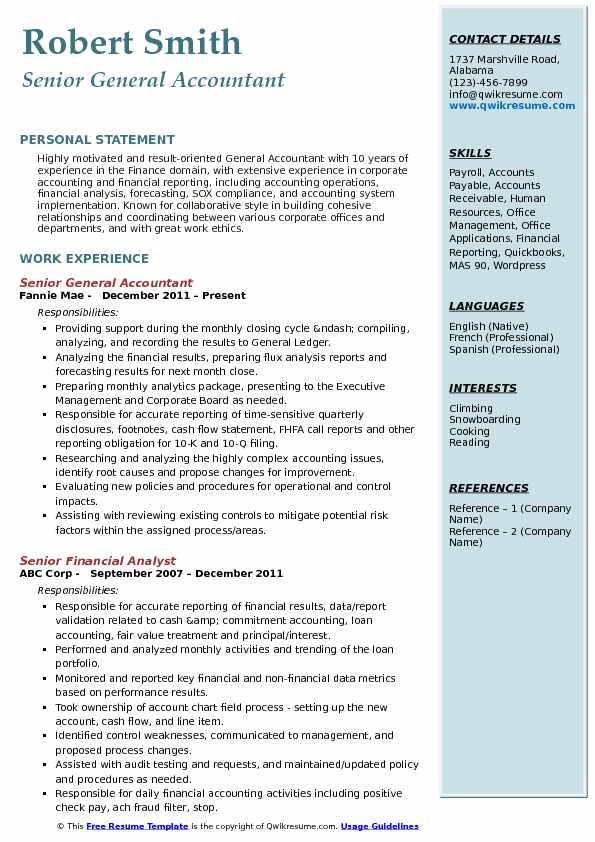 general accountant resume samples