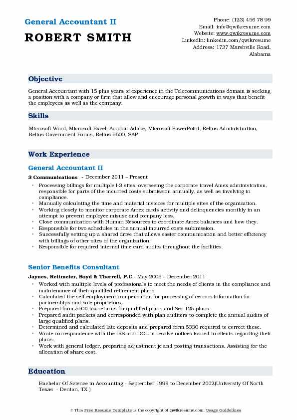 General Accountant II Resume Example