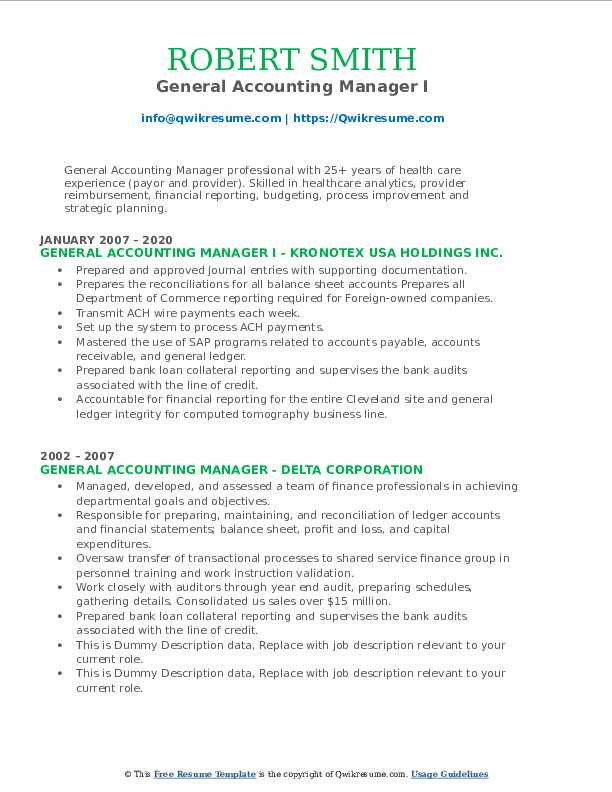 general accounting manager resume samples