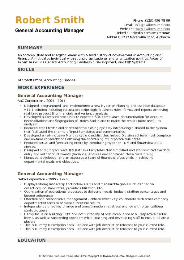 General Accounting Manager Resume example