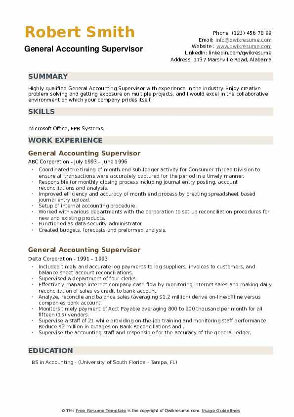 General Accounting Supervisor Resume example