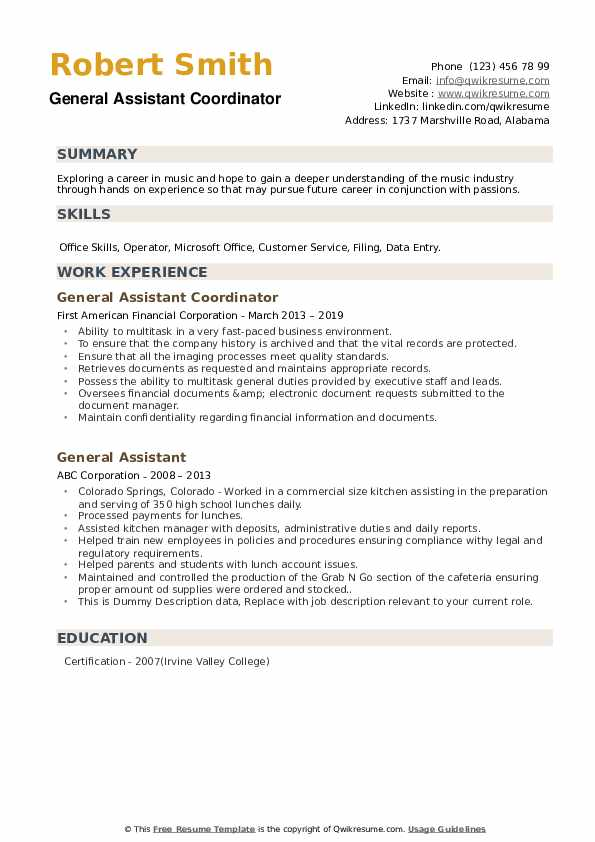 General Assistant Resume example