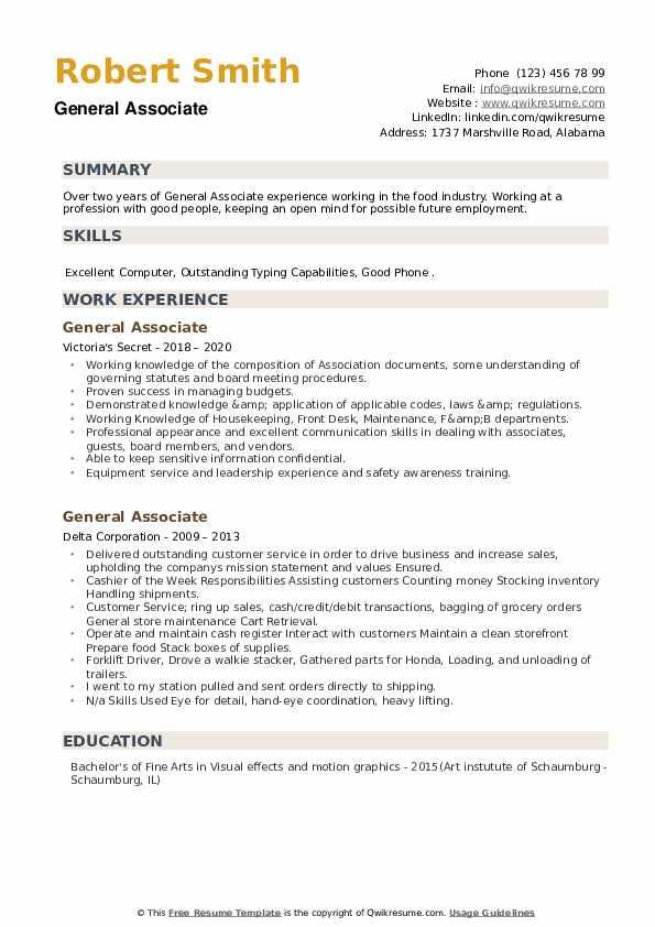 General Associate Resume example