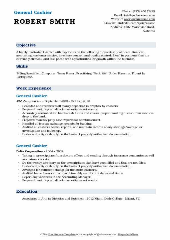general cashier resume samples