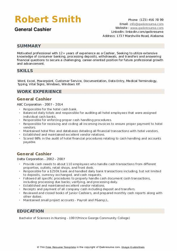 General Cashier Resume example
