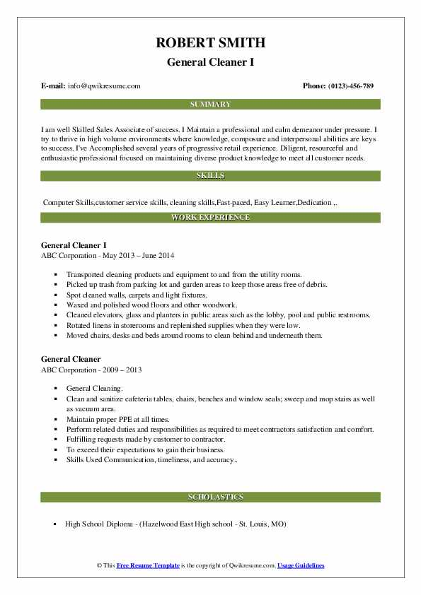 General Cleaner I Resume Sample