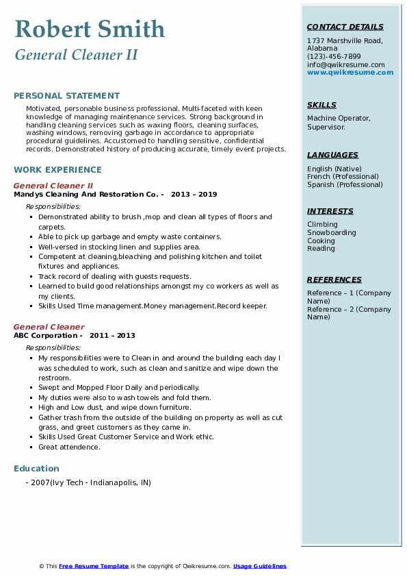 General Cleaner II Resume Format