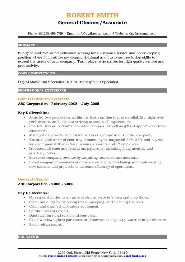 General Cleaner/Associate Resume Format