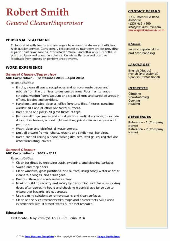 General Cleaner/Supervisor Resume Sample