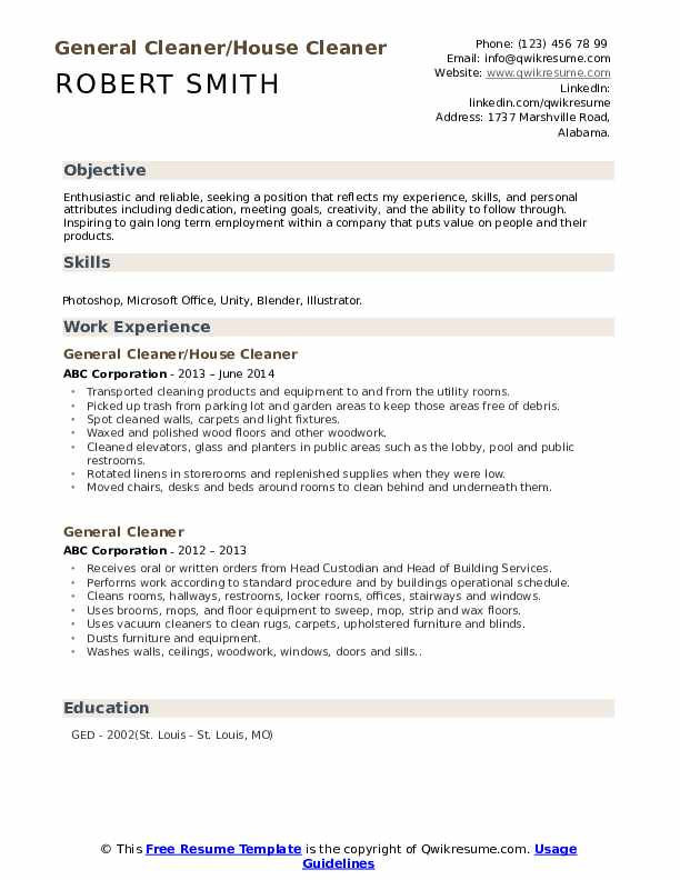 General Cleaner/House Cleaner Resume Model
