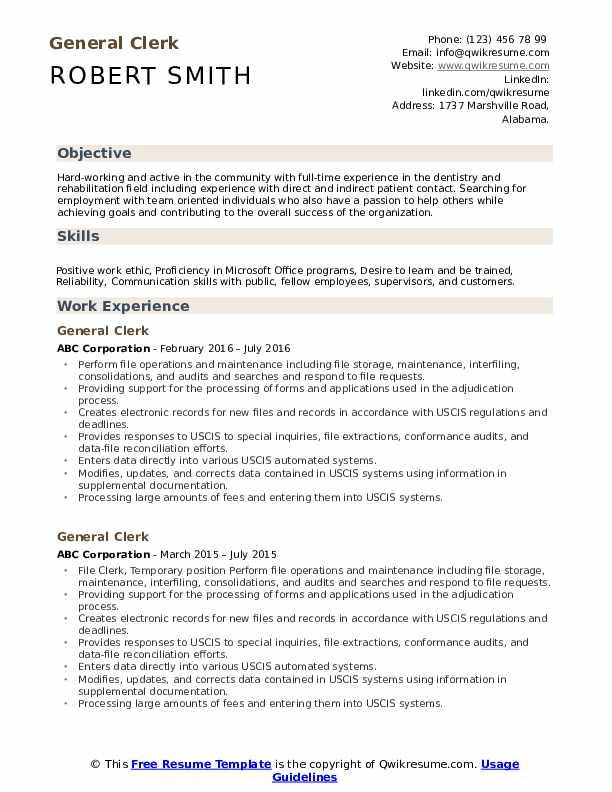 General Clerk Resume Template