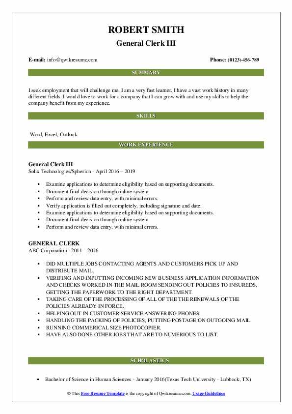 General Clerk III Resume Template